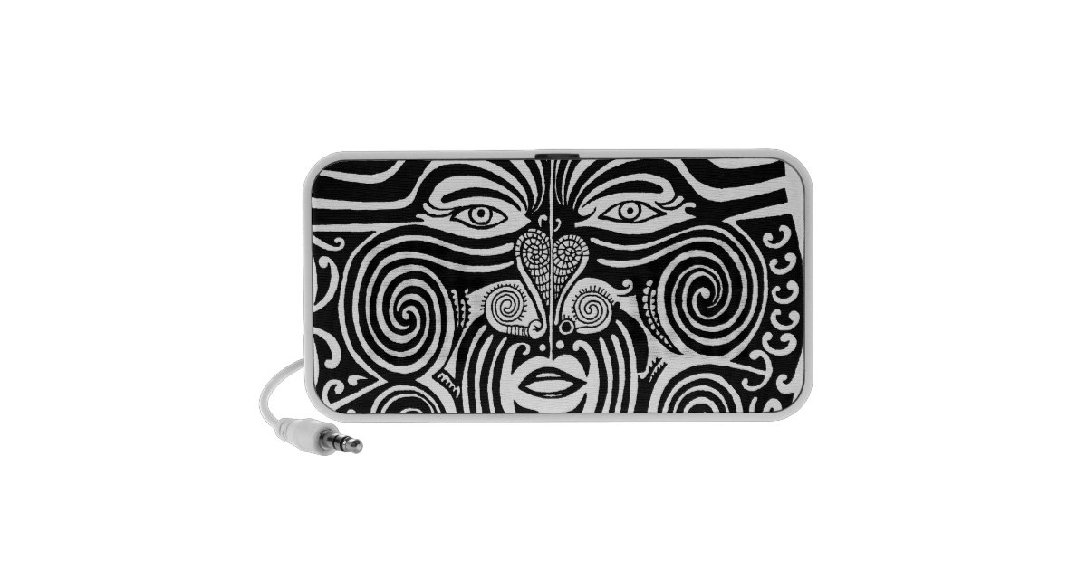 ancient maori moko tribal tattoo design portable speaker zazzle. Black Bedroom Furniture Sets. Home Design Ideas