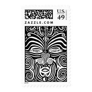 Ancient Maori Moko tribal tattoo design. Postage Stamp