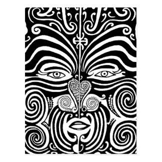 Ancient Maori Moko tribal tattoo design. Postcard
