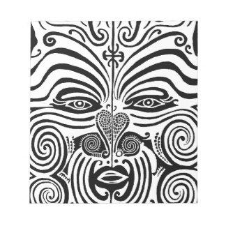 Ancient Maori Tribal Tattoo from New Zealand Note Pad
