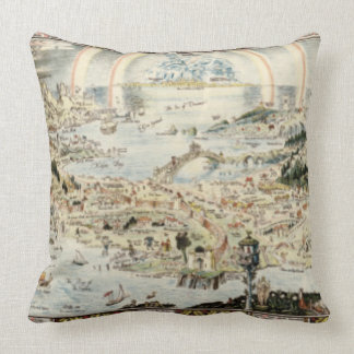 Ancient map of Fairyland by Bernard Sleigh Throw Pillow