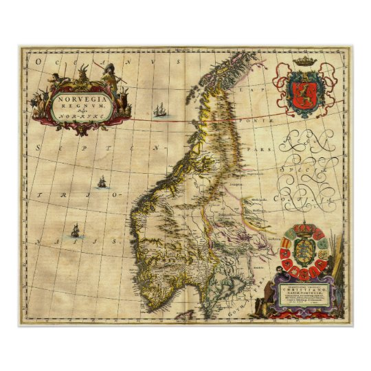 Ancient Map of Norway Poster