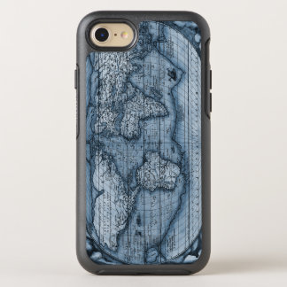 Ancient Map Of The World In Blue OtterBox Symmetry iPhone 7 Case