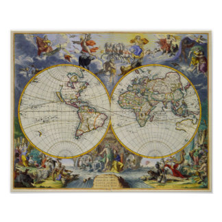 Ancient Map of the World in Two Hemispheres 1683 Poster