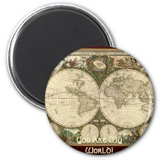 Ancient Map Series 2 Inch Round Magnet