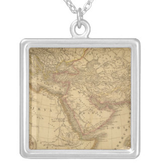 Ancient Map Silver Plated Necklace