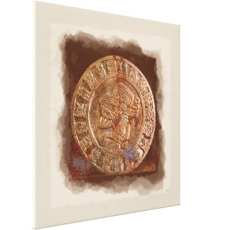 Ancient Mayan Carved Metal Art Disc Wrapped Canvas