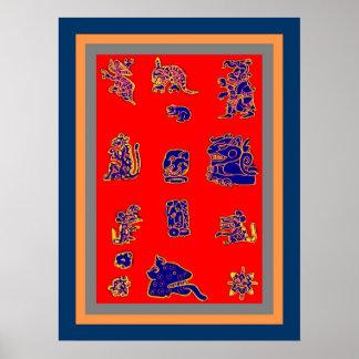 Ancient Mayan Glyphs Poster