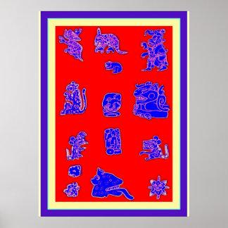 Ancient Mayan Glyphs Print