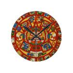 Ancient Mayan Maya Aztec Calendar Round Wall Clocks