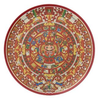 Ancient Mayan Maya Aztec Calendar Plate