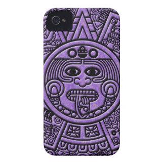 Ancient Mayan Maya Calendar in Purple iPhone 4 Case-Mate Cases