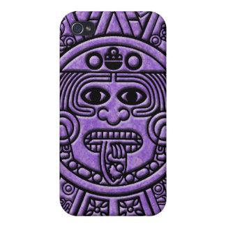 Ancient Mayan Maya Calendar in Purple Case For iPhone 4