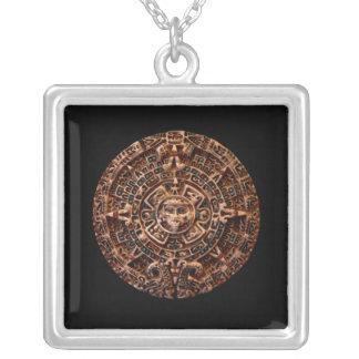 Ancient Mayan Sun Calendar Art Square Necklace