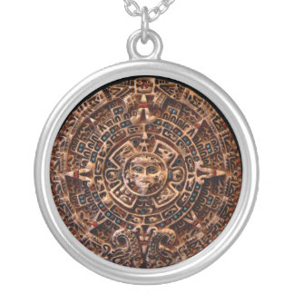 Ancient Mayan Sun Calendar Round Pendant Necklace