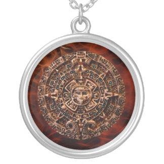 Ancient Mayan Sun Disk Fractal Art Necklace