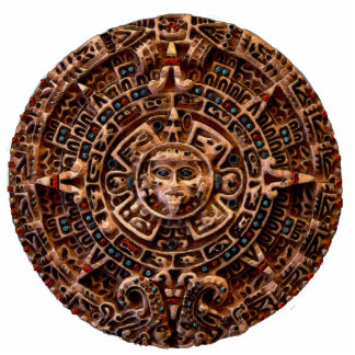 Ancient Mayan Sun Disk Mexico History Statuette