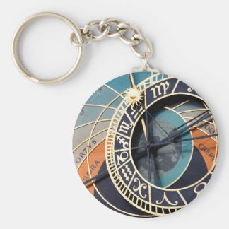 Ancient Medieval Astrological Clock Czech Basic Round Button Keychain