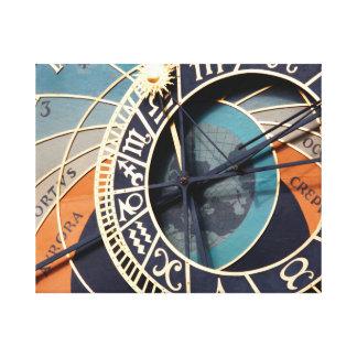 Ancient Medieval Astrological Clock Czech Canvas Print