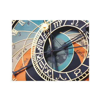 Ancient Medieval Astrological Clock Czech Canvas Print