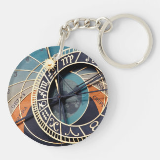 Ancient Medieval Astrological Clock Czech Double-Sided Round Acrylic Keychain