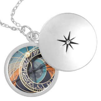 Ancient Medieval Astrological Clock Czech Round Locket Necklace