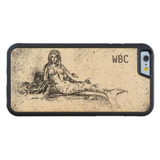 Ancient Mermaid Design Old World Vintage Art Carved Maple iPhone 6 Bumper Case
