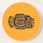 Ancient Mexican Fish Art Sandstone Coaster