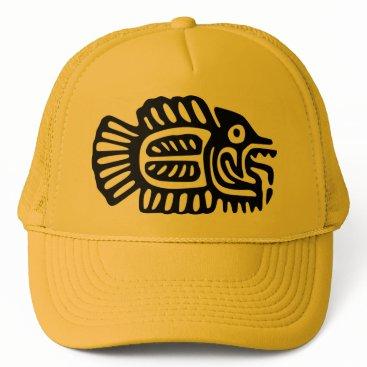 Aztec Themed Ancient Mexican Fish Motif Cap