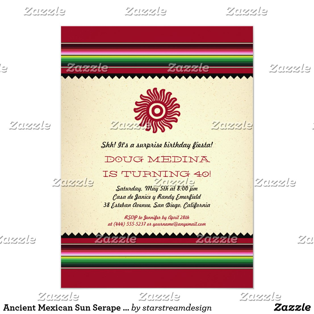 Ancient Mexican Sun Serape Party Card