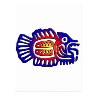 Ancient Mexico Design Fish Postcard