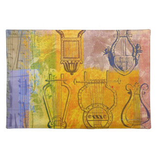 Ancient Musical Instruments Cloth Placemat