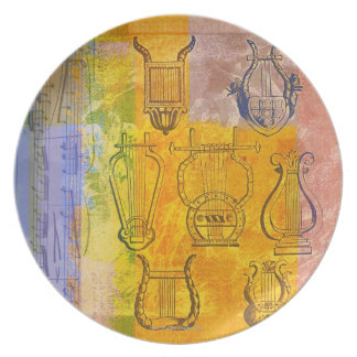 Ancient Musical Instruments Dinner Plate