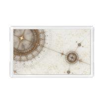 Ancient Nautical Chart, Grunge Acrylic Tray