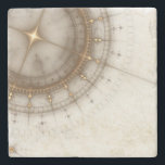 "Ancient Nautical Chart, Grunge Stone Coaster<br><div class=""desc"">Old map with compass abstract illustration of ancient nautical chart &#169; and &#174; Bigstock&#174; - All Rights Reserved.</div>"