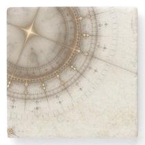 Ancient Nautical Chart, Grunge Stone Coaster