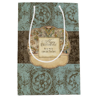 Ancient Nautical Map Vintage Rosette Etchings Mens Medium Gift Bag