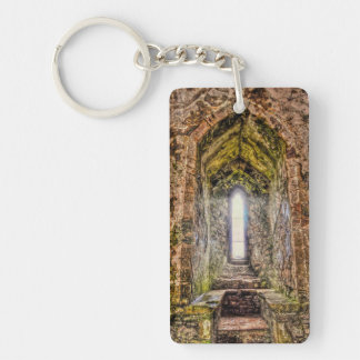 Ancient Norman Window at Chepstow Castle, Wales Rectangular Acrylic Keychains