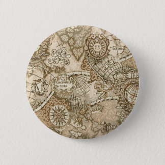 Ancient Old World Map Pinback Button
