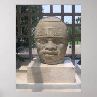 Ancient Olmec Head 4 Poster