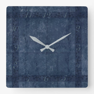 Ancient overlays-blue shade square wall clock