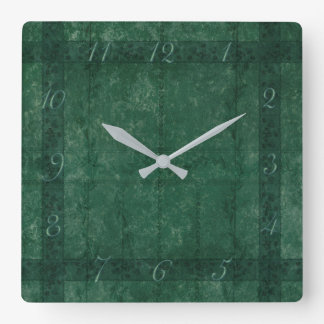 Ancient overlays-green shade square wall clock