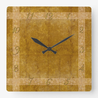 Ancient overlays-ochre shade square wall clock
