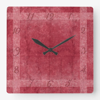 Ancient overlays-red shade square wall clock