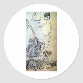 Ancient Painting by Hokusai circa 1800's. Japan Classic Round Sticker