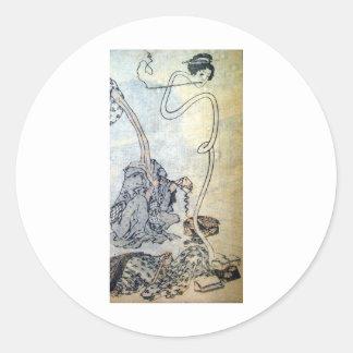 Ancient Painting by Hokusai circa 1800's. Japan Round Sticker