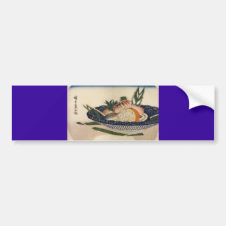 Ancient Painting of a Bowl of Sushi circa 1800's Bumper Sticker
