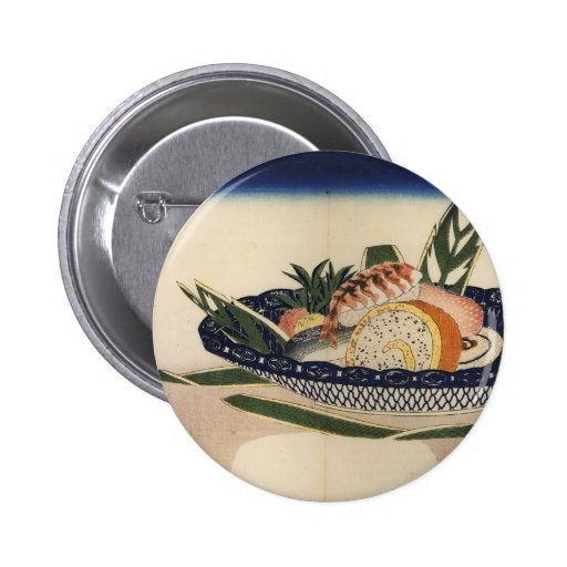 Ancient Painting of a Bowl of Sushi circa 1800's Buttons