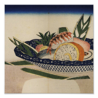 Ancient Painting of a Bowl of Sushi circa 1800's. Poster