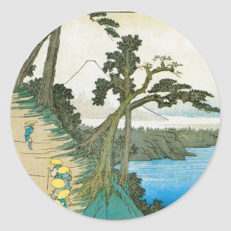 Ancient Painting of Mt. Fuji c. 1837 Japan Classic Round Sticker